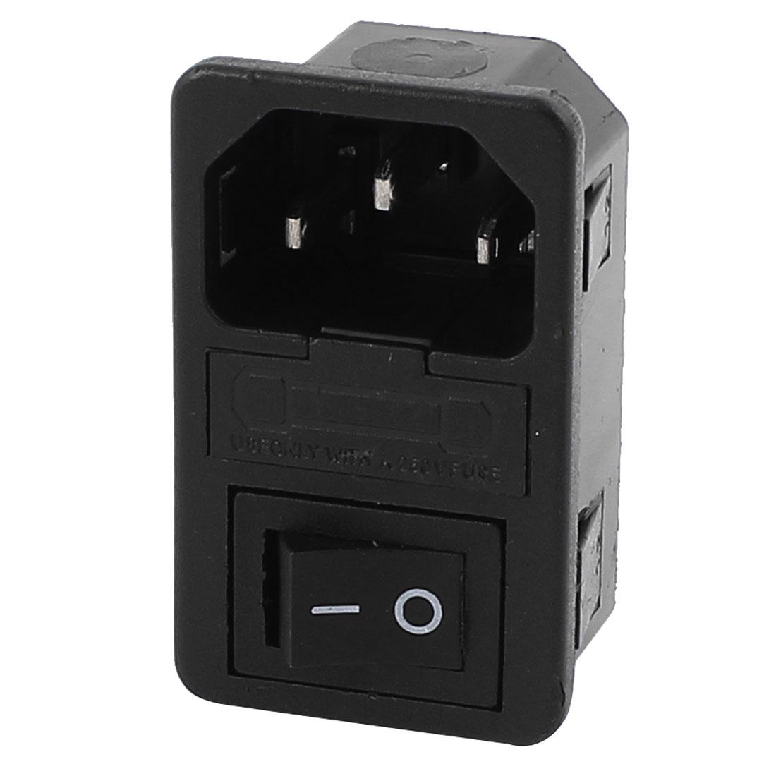 AC 250V 10A 2 Terminals Black Rocker Switch Inlet Power Socket w Fuse Holder