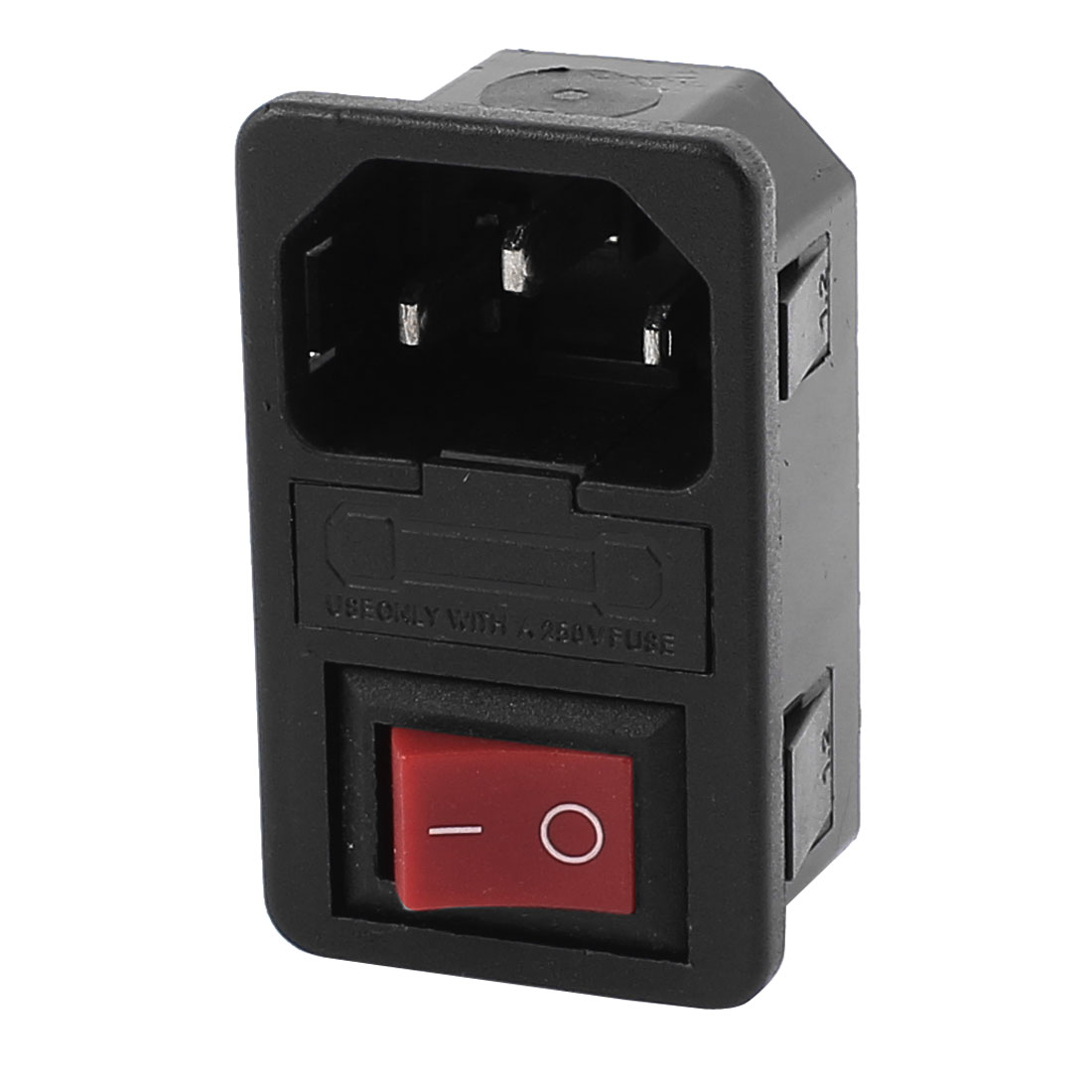 AC 250V 10A 2 Terminals Red Rocker Switch Inlet Power Socket w Fuse Holder