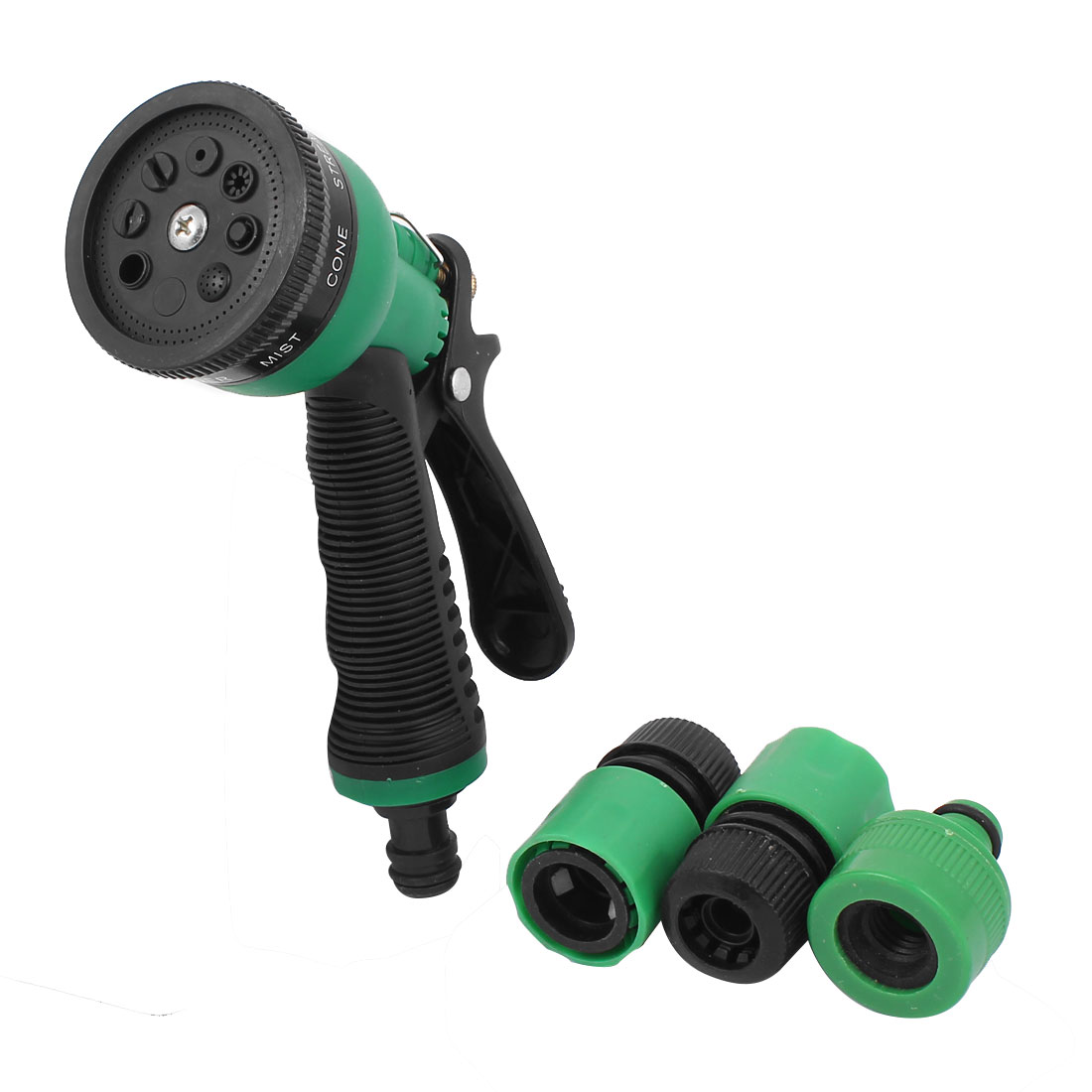Yard Garden Plastic 8 Patterns Spray Nozzle Trigger Gun Water Hose Sprayer Green