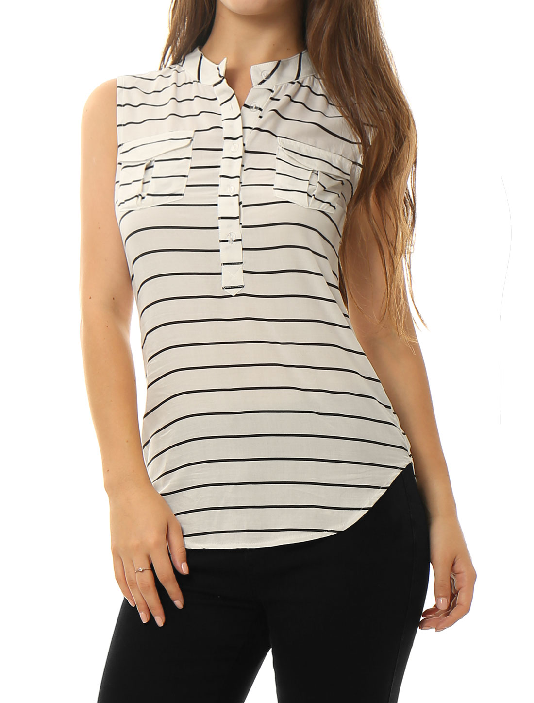 Women Stand Collar Half Placket Striped Sleeveless Shirt White L