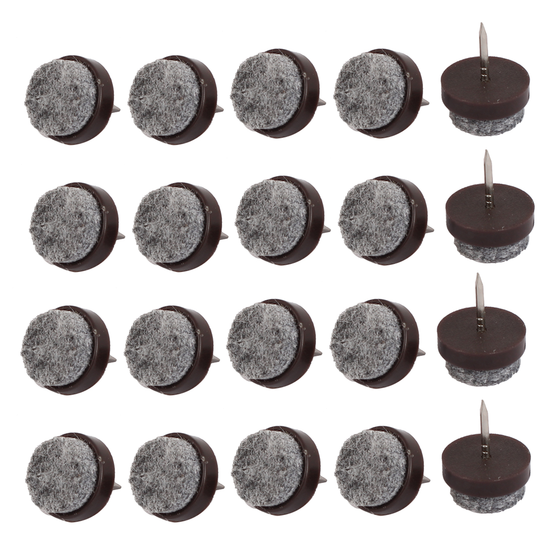 Table Chair Legs Floor Protector Felt Furniture Feet Nails Coffee Color 17mm Dia 20pcs