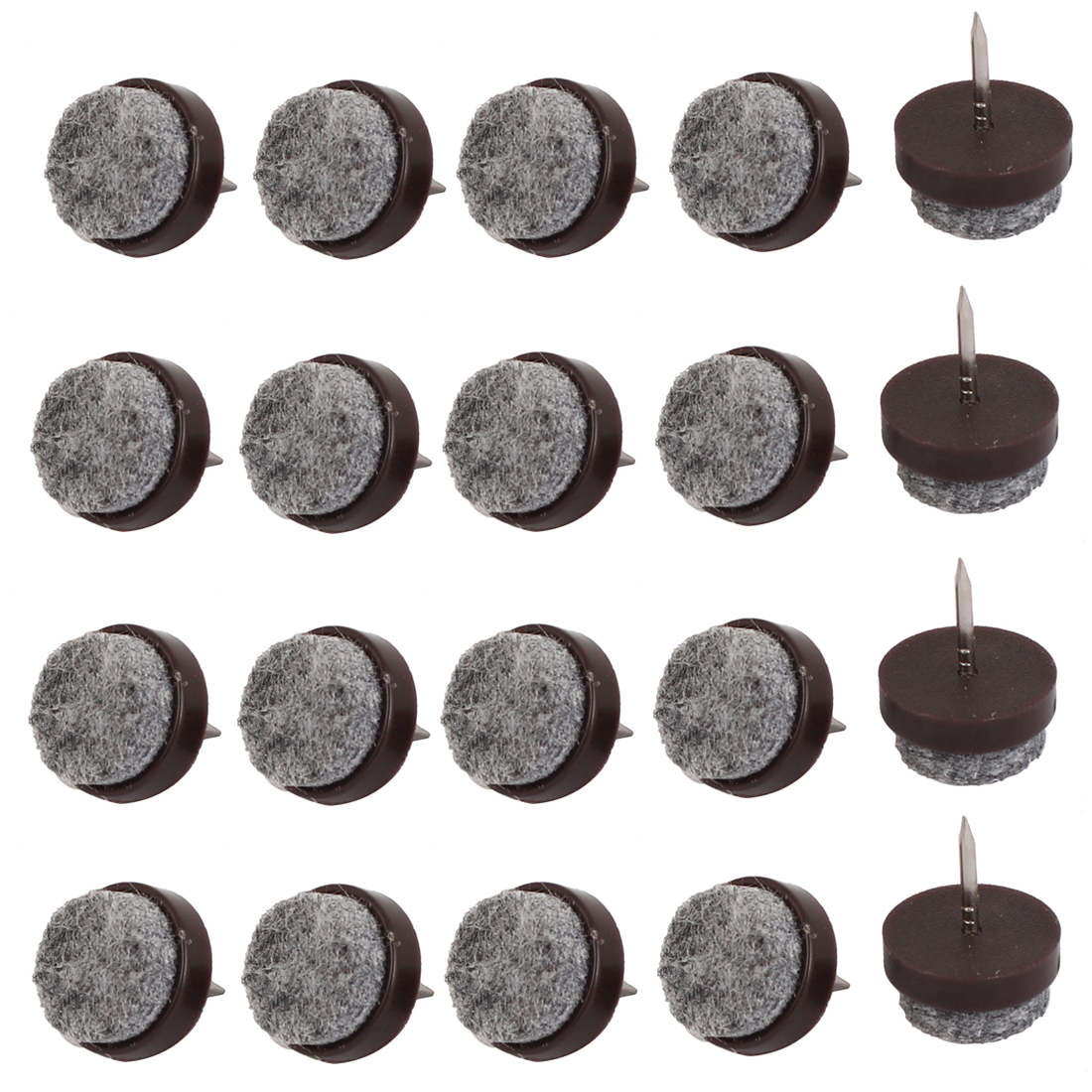 Table Chair Legs Floor Protector Felt Furniture Feet Nails Coffee Color 20mm Dia 20pcs