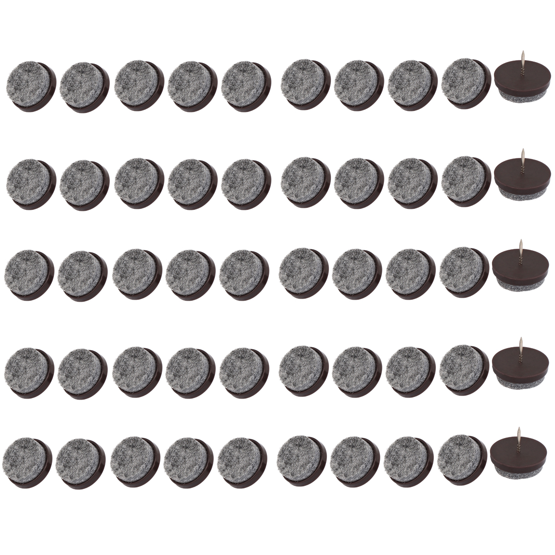 Table Chair Legs Floor Protector Felt Furniture Feet Nails Coffee Color 28mm Dia 50pcs