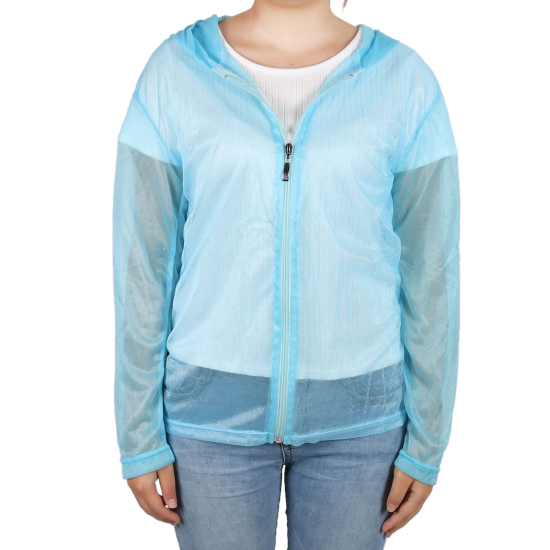 Outdoor Women Summer Sun UV Protection Transparent Clothing Hooded Jacket Blue