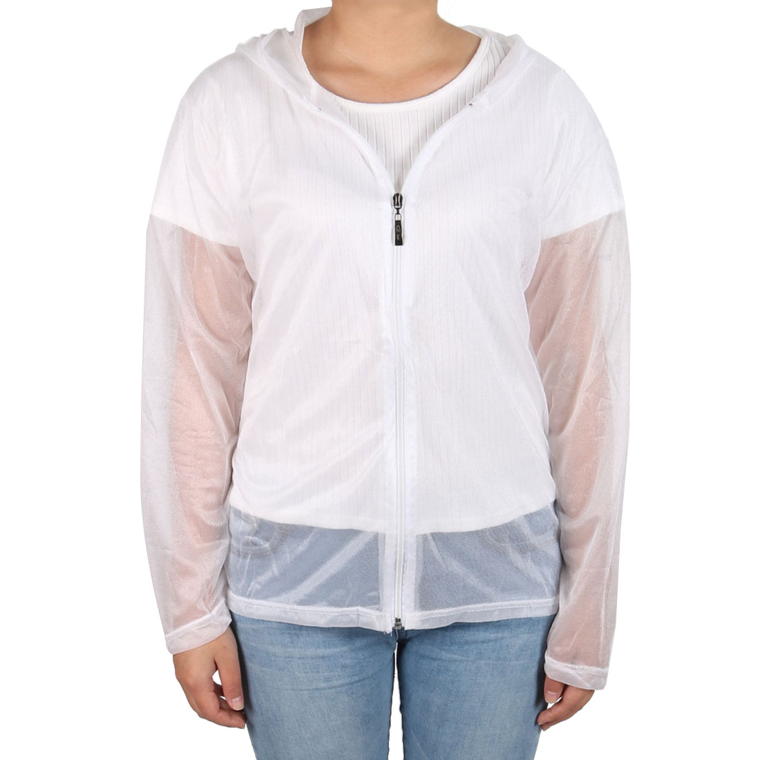 Outdoor Women Summer Sun UV Protection Transparent Clothing Hooded Jacket White