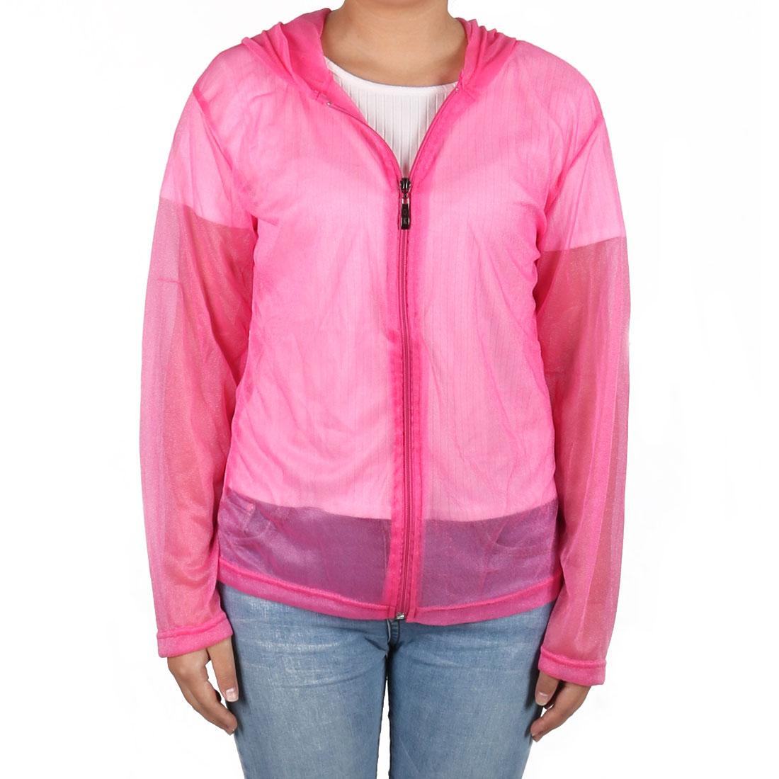 Outdoor Women Summer Sun UV Protection Transparent Clothing Hooded Jacket Fuchsia
