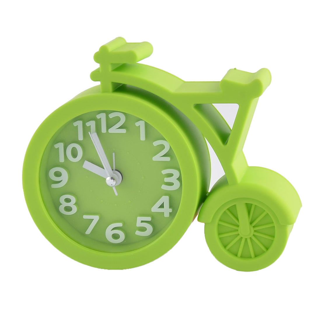 Household Office Desktop Plastic Bike Shaped Silent Battery Powered Arabic Number Alarm Clock Green
