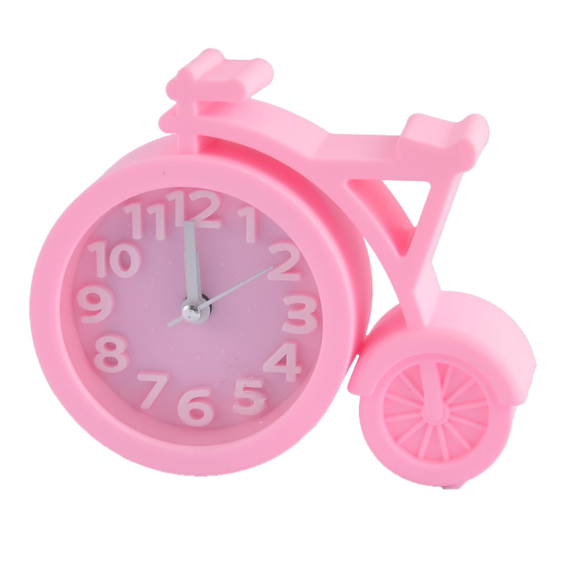 Household Office Desktop Plastic Bike Shaped Silent Battery Powered Arabic Number Alarm Clock Pink