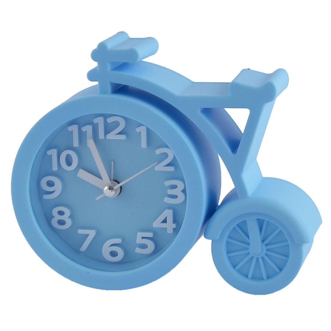 Household Office Desktop Plastic Bike Shaped Silent Battery Powered Arabic Number Alarm Clock Blue