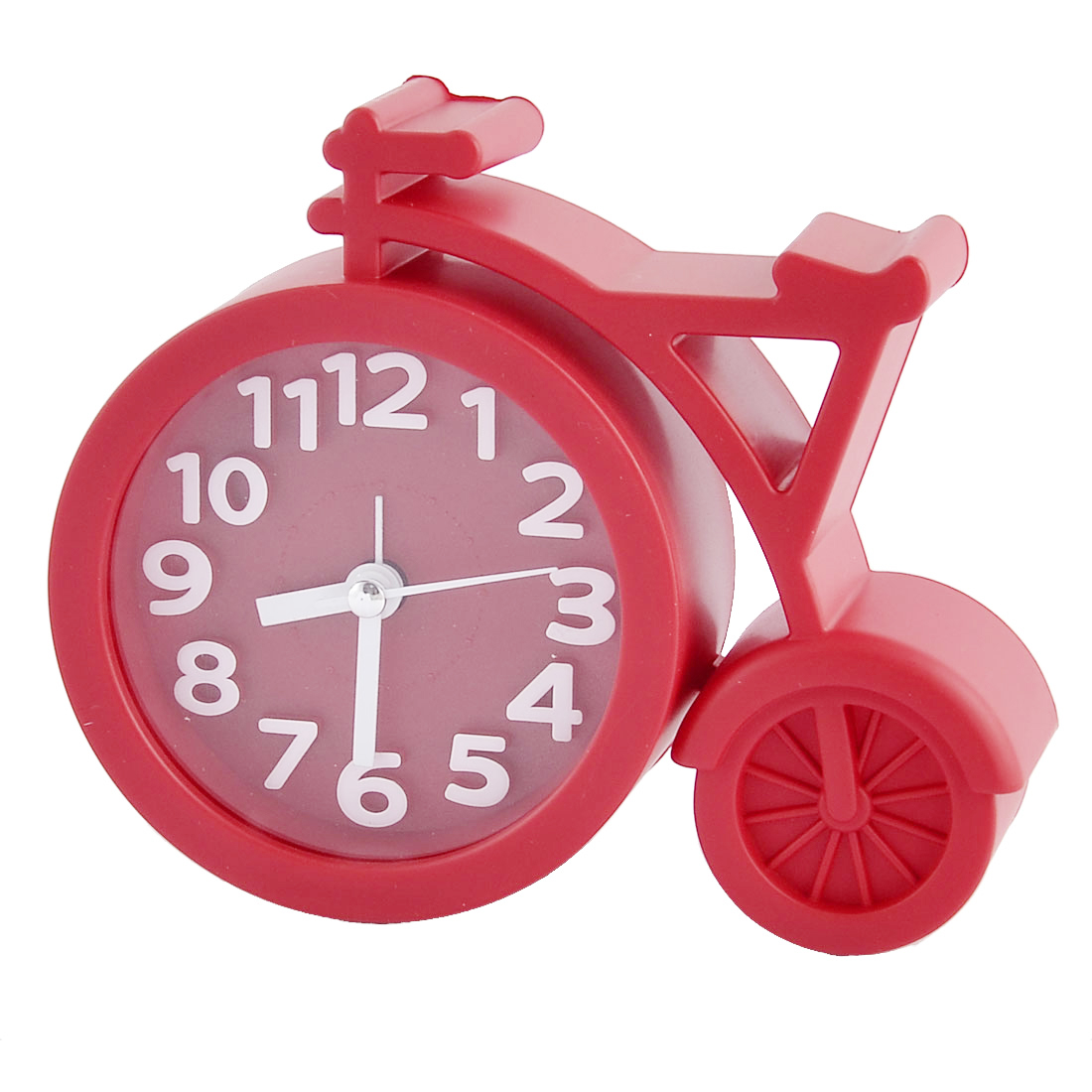 Household Office Desktop Plastic Bike Shaped Silent Battery Powered Arabic Number Alarm Clock Red