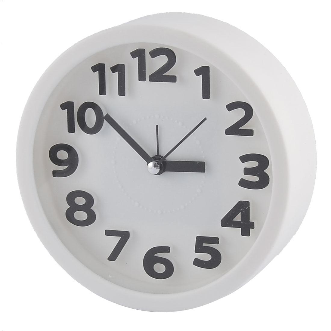 Household Office Desktop Plastic Round Silent Battery Powered Arabic Number Alarm Clock White