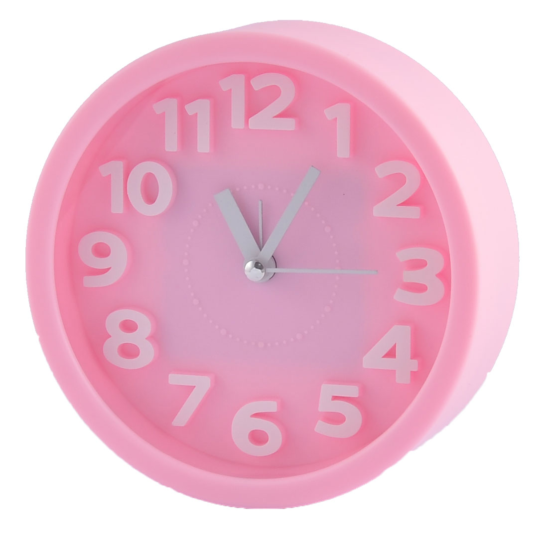 Household Office Desktop Plastic Round Silent Battery Powered Arabic Number Alarm Clock Pink
