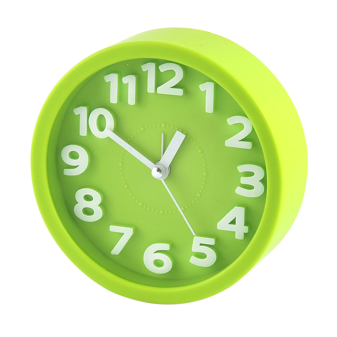 Household Office Desktop Plastic Round Silent Battery Powered Arabic Number Alarm Clock Green