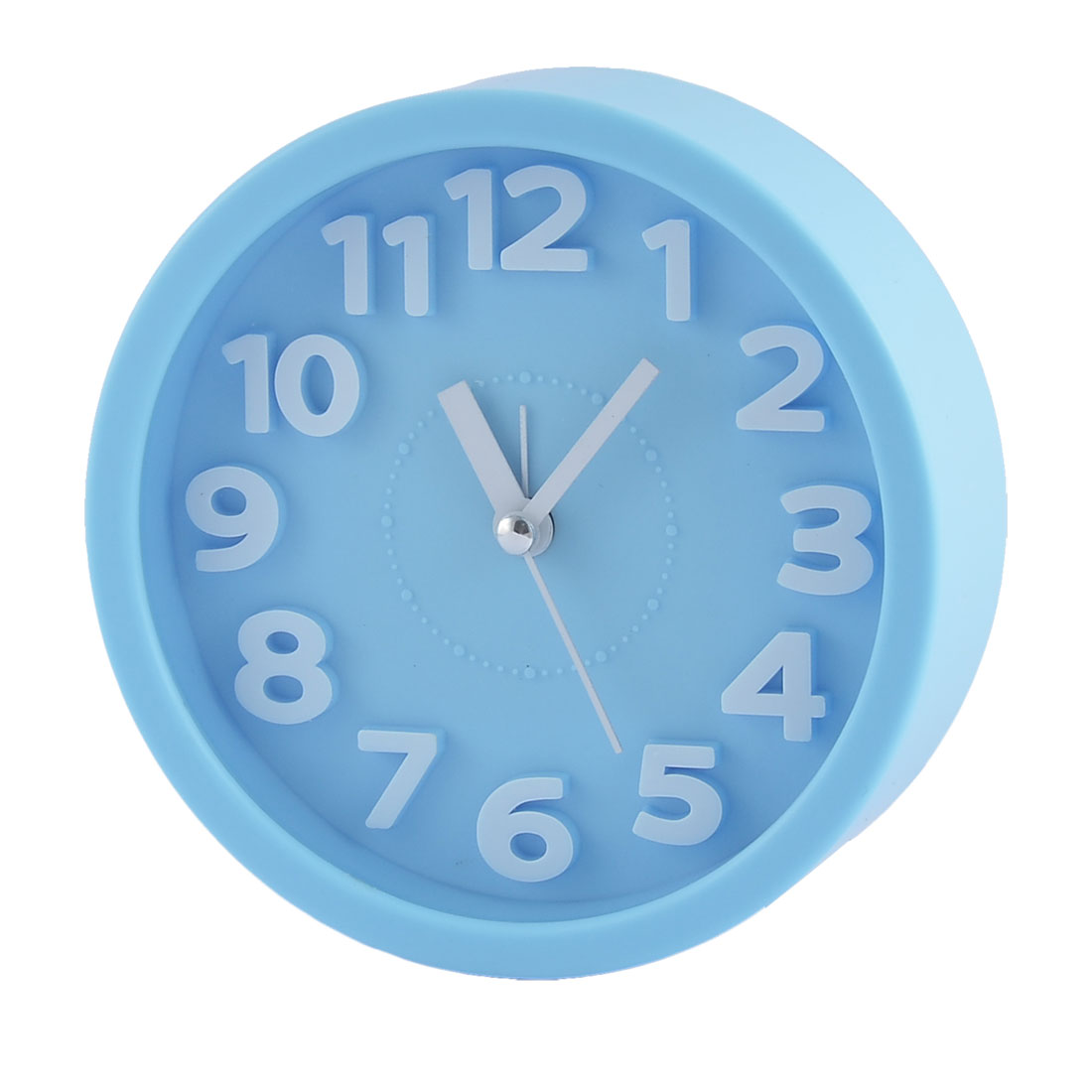 Household Office Desktop Plastic Round Silent Battery Powered Arabic Number Alarm Clock Blue