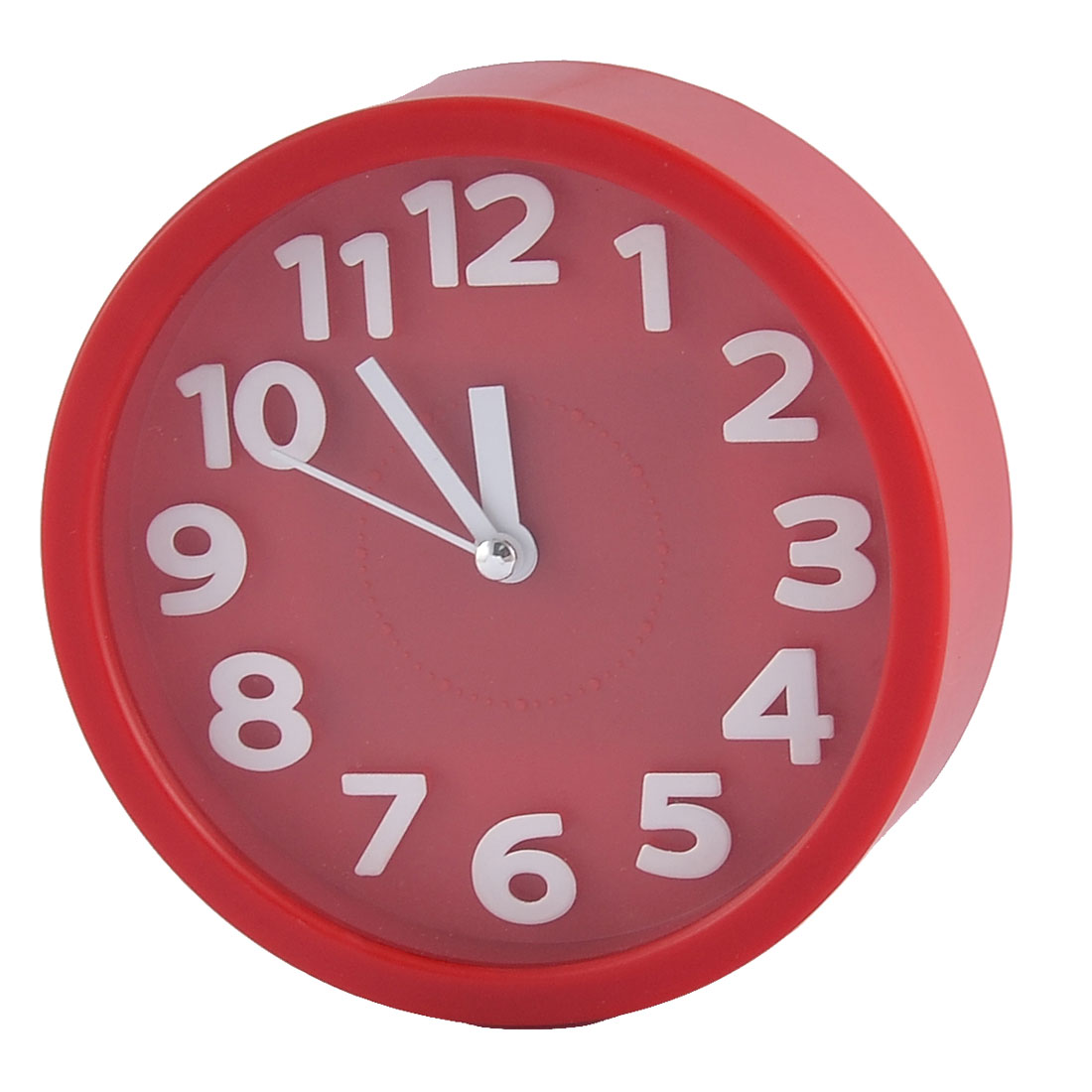 Household Office Desktop Plastic Round Silent Battery Powered Arabic Number Alarm Clock Red