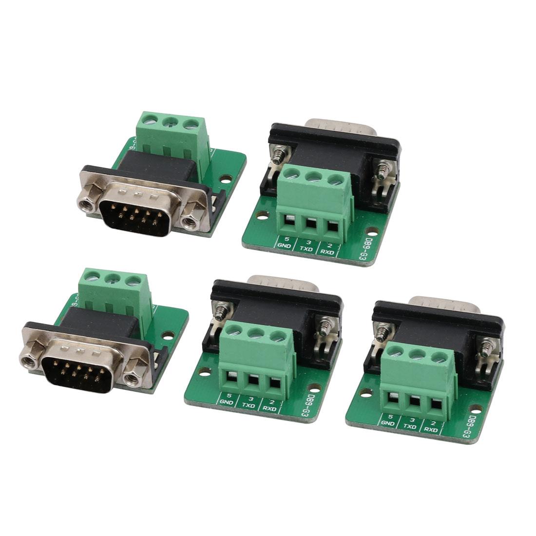 5 Pcs DB9-G3 Male Adapter Plate 9P Terminal Breakout Board Signal Module