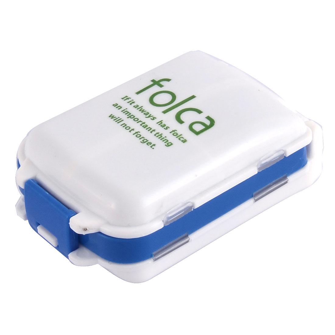 Plastic Square Shape 3 Layers Medicine Pill Box Case Container White Blue