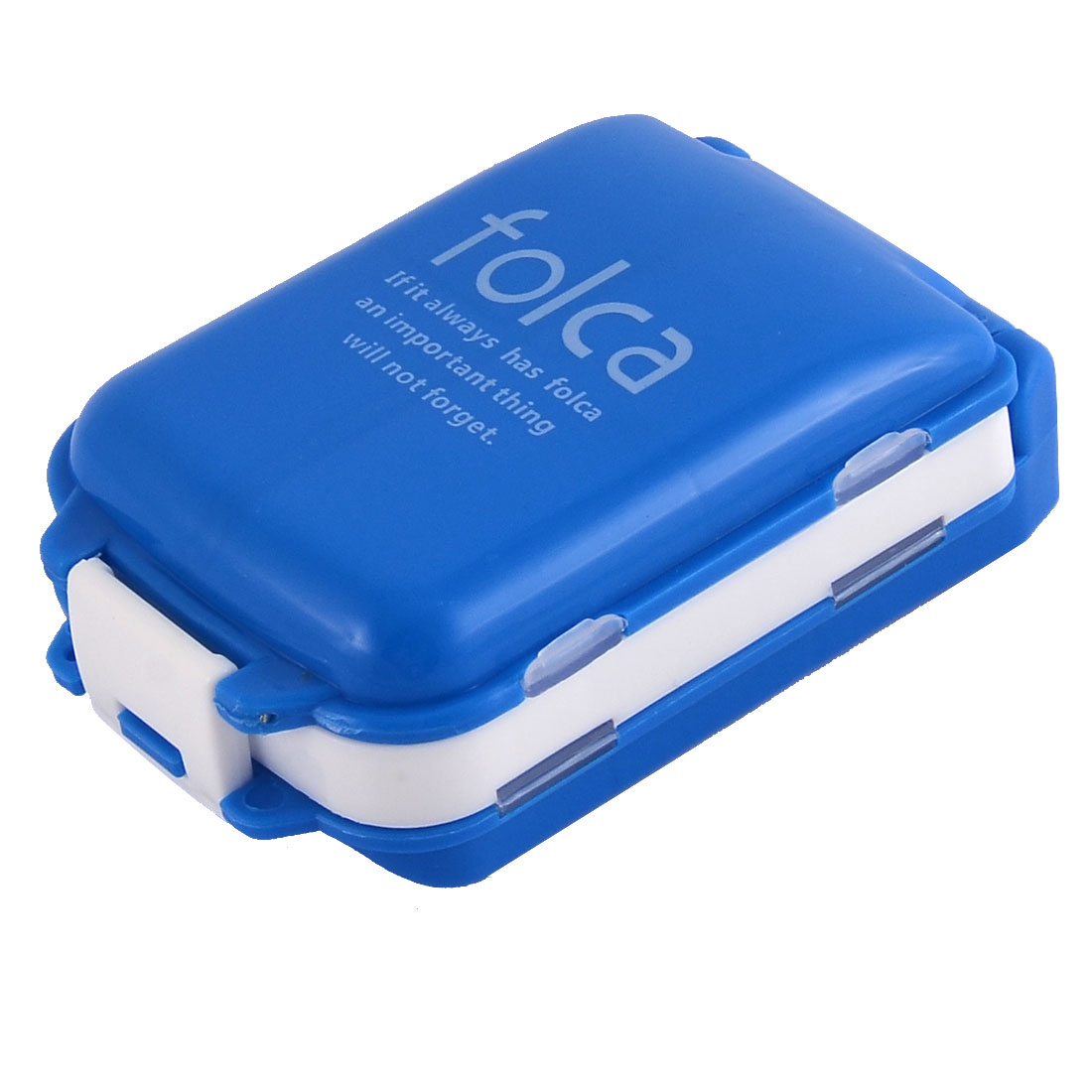 Plastic Rectangle Shape 8 Slots Medicine Pill Box Case Organizer White Blue