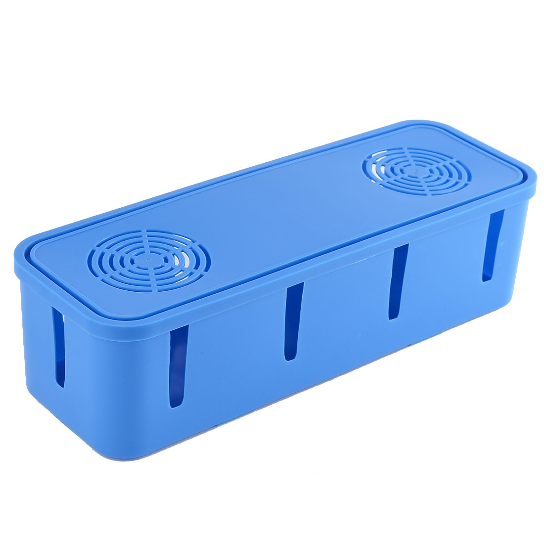 Plastic 10 Holes Design Security Power Cord Socket Storage Case Box Blue