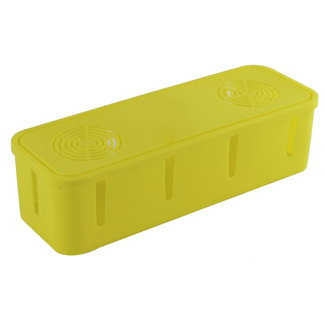 Plastic Rectangle Shape Security Power Cord Socket Storage Case Box Yellow