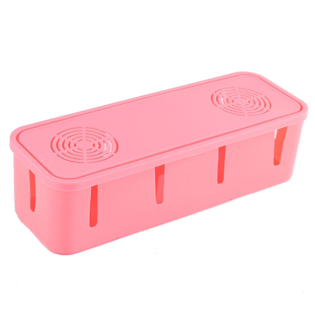 Plastic Rectangle Shape 10 Holes Security Power Cord Socket Storage Case Pink