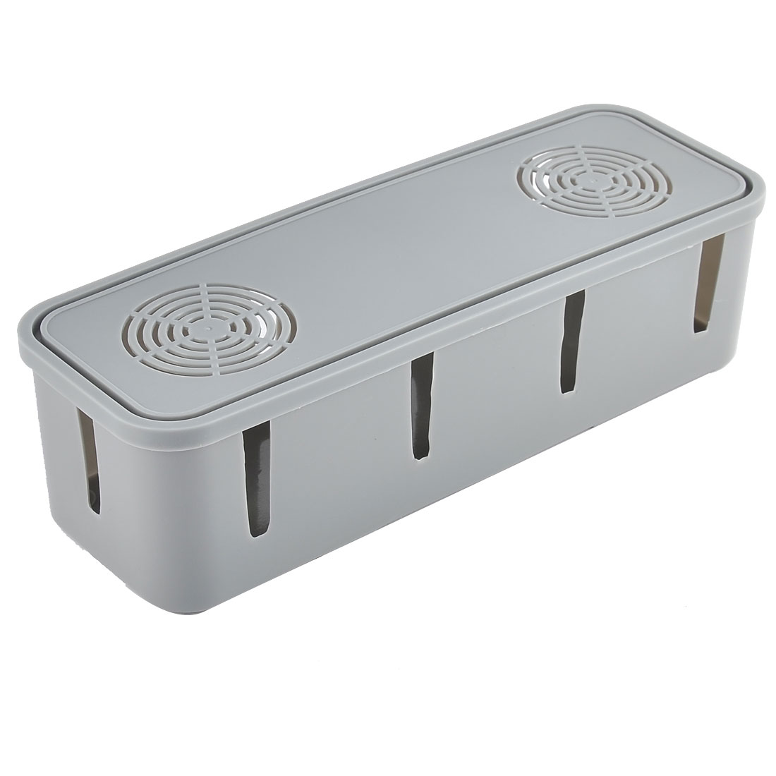 Plastic Rectangle Design Safety Power Wire Socket Storage Case Box w Lid Gray