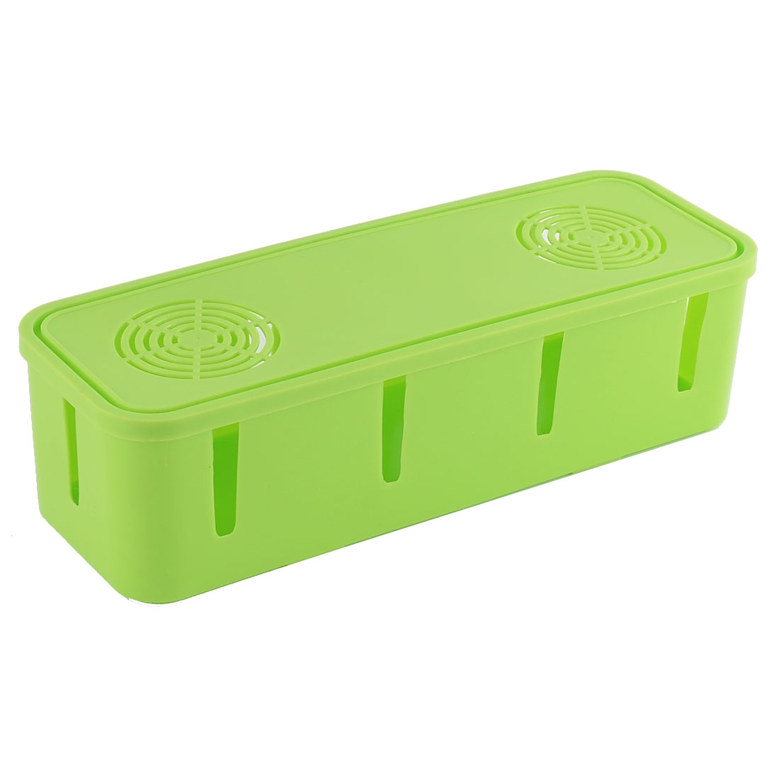 Home Office Plastic Rectangle Design Power Cord Socket Storage Case Box Green