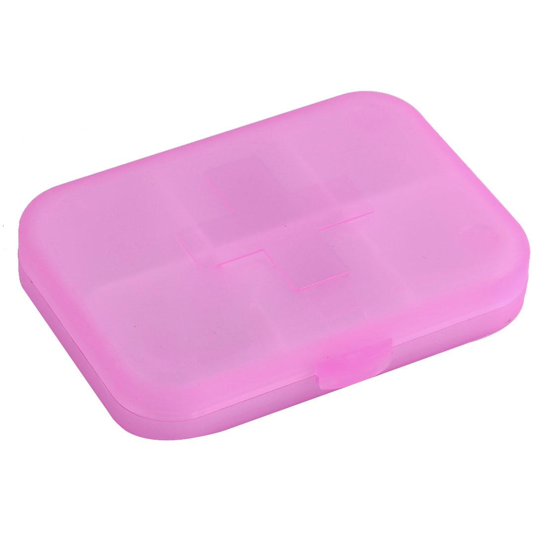 Plastic Square Shape 6 Slots Medicine Pill Container Box Case Clear Fuchsia