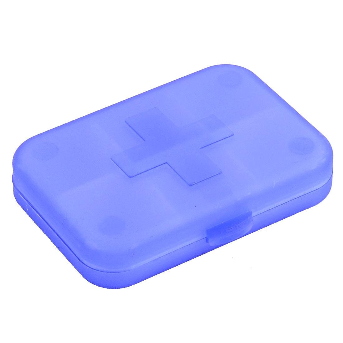 Plastic Rectangle Design Medicine Pill Container Storage Box Case Clear Blue