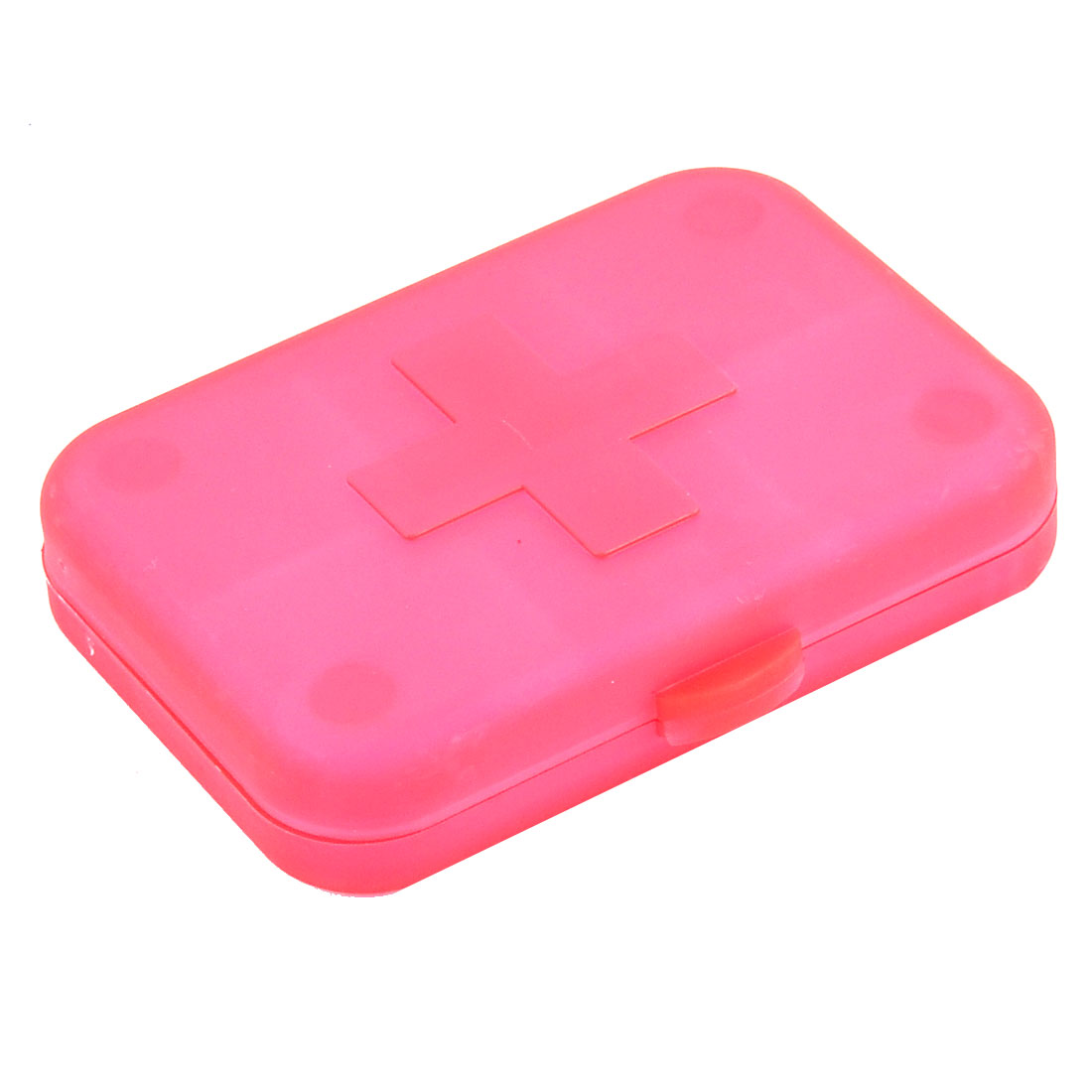 Plastic Rectangle Shape Cross Mark Medicine Pill Container Box Case Clear Red