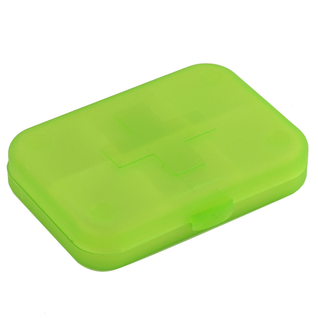 Plastic 6 Compartments Cross Mark Medicine Pill Container Box Case Clear Green