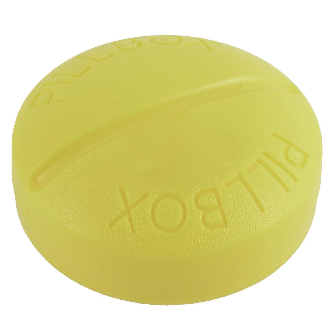 Plastic 4 Slots Tablet Pill Medicine Organizer Storage Case Box Yellow