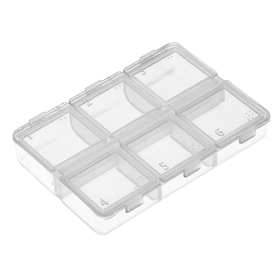 Plastic 6 Compartments Pill Tablet Medicine Storage Case Box Holder Clear