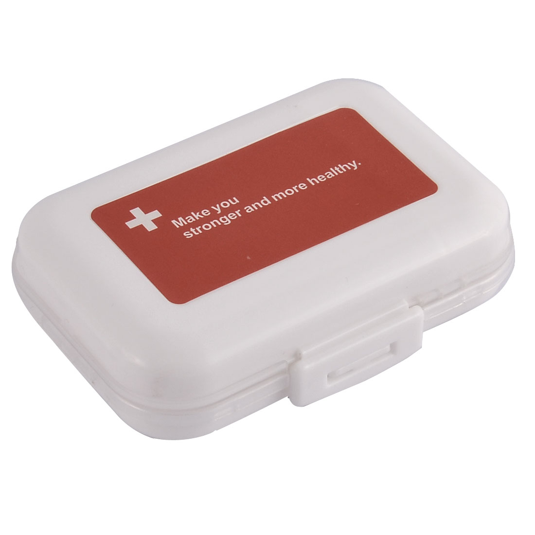 Plastic Double Layers 8 Compartments Medicine Pill Storage Box Case White Red
