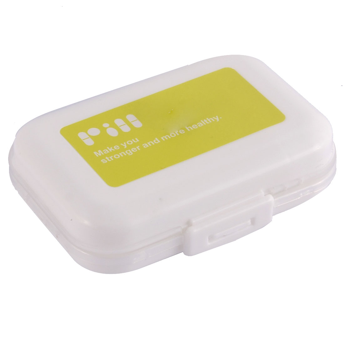 Plastic 8 Slots Medicine Vitamin Tablet Pill Storage Box Case White Yellow