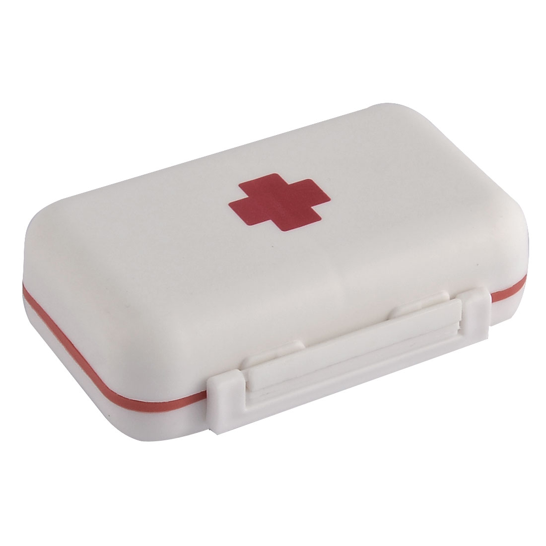 Plastic Rectangle Shape 2 Layers Medicine Pill Storage Box Case White Red