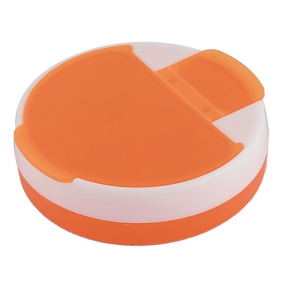 Plastic 4 Slots Tablet Pill Capsules Storage Box Case Dispenser Clear Orange