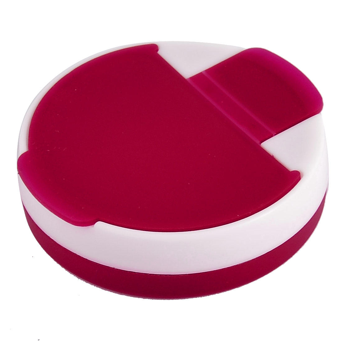 Plastic Round Shaped Tablet Medicine Pill Capsules Case Box Clear Red