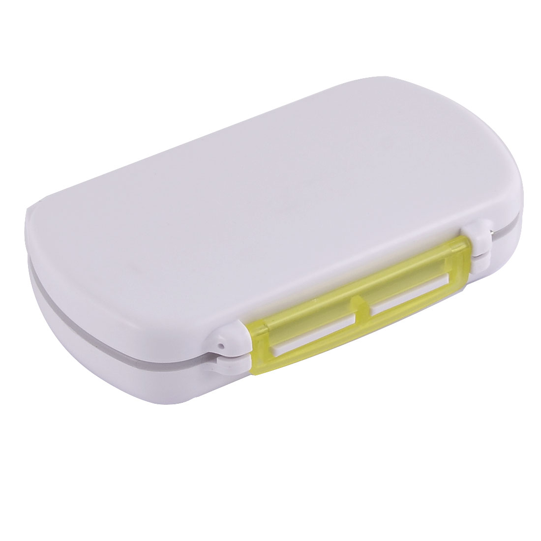 Plastic Square Design Pills Coins Jewelry Storage Box Case Clear Yellow