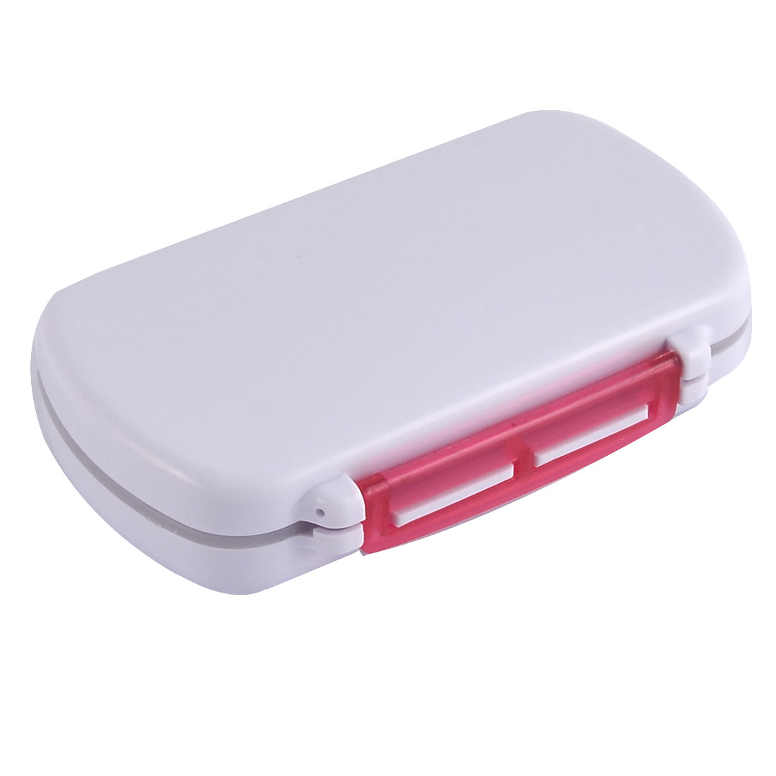 Plastic 6 Compartments Medicine Pills Coins Jewelry Storage Box Case Clear Red