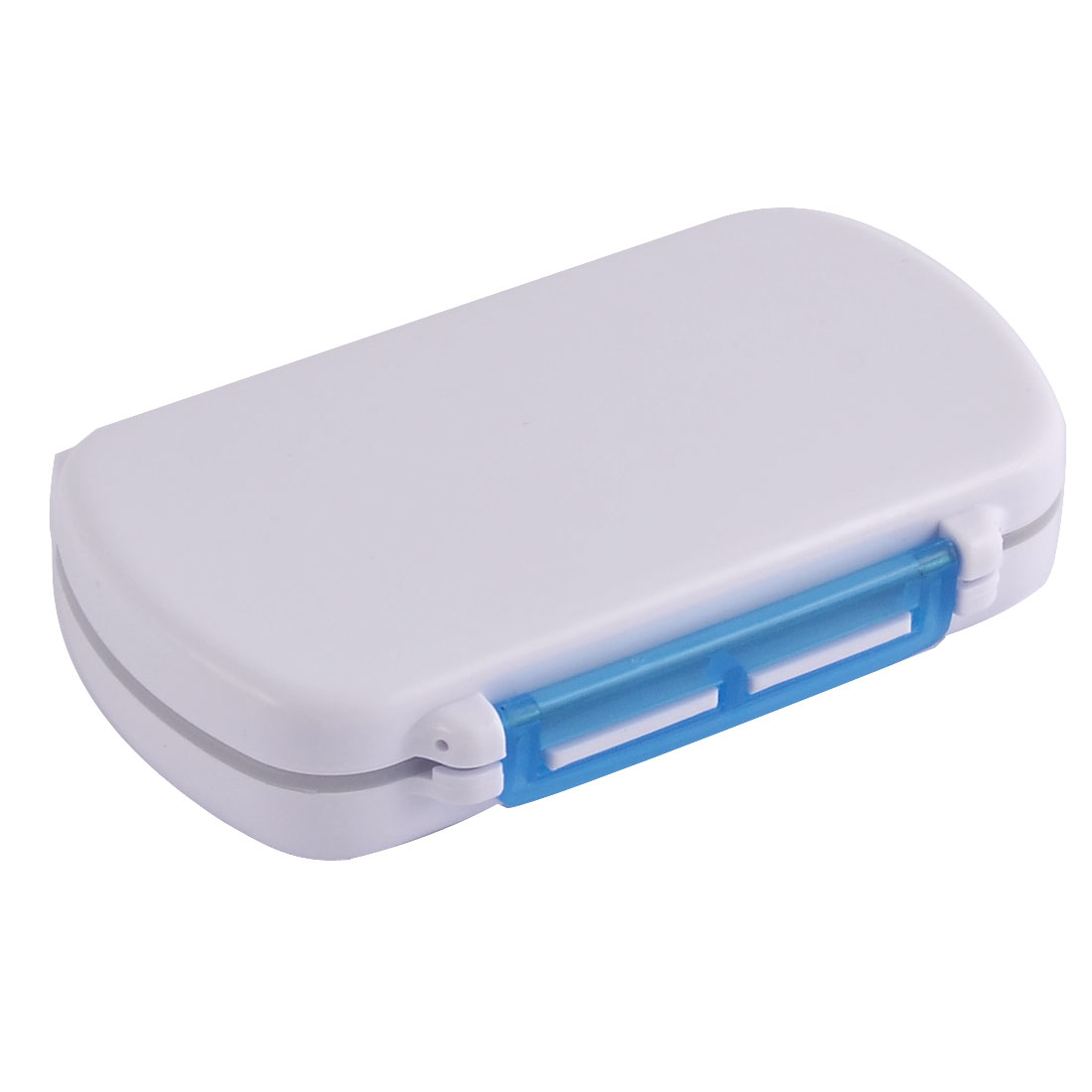 Plastic Square Shape Pills Medicine Storage Dispenser Box Case Clear Blue