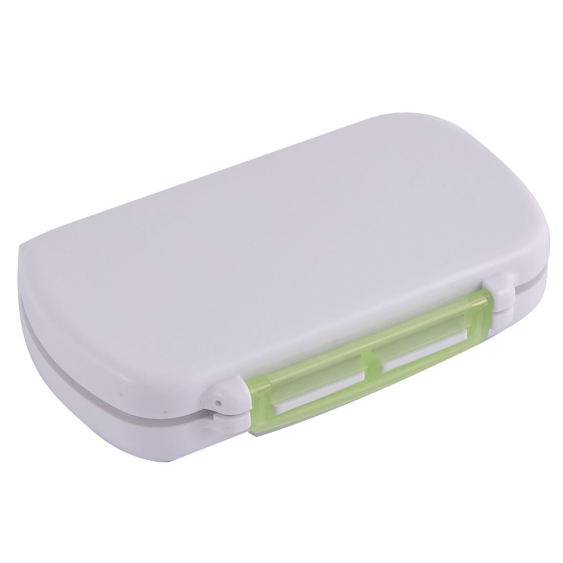 Plastic Square Design Portable Pocket Pills Coins Storage Box Case Clear Green