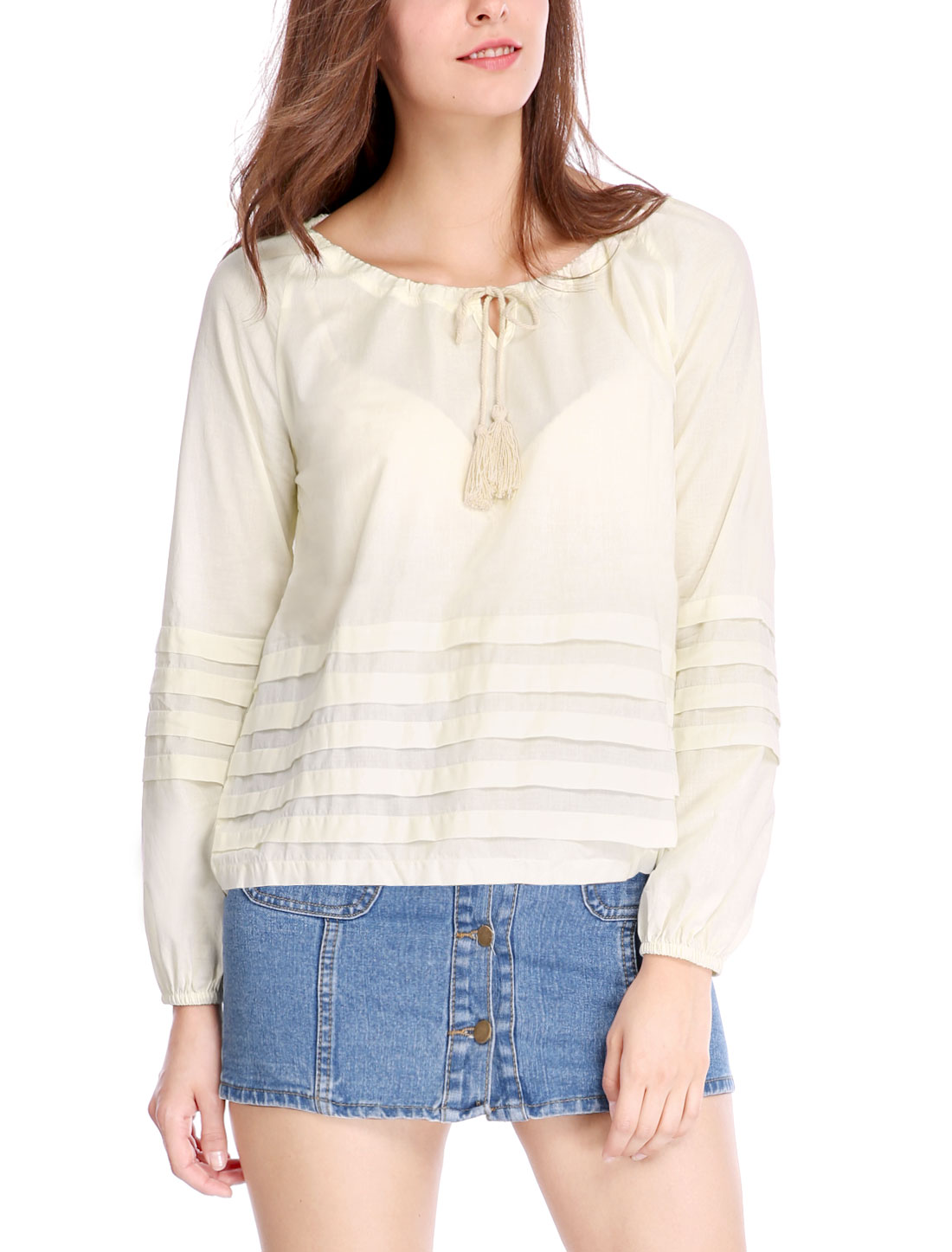 Women Tassel Tie Front Shutter Pleats Long Sleeves Blouse Ivory XS