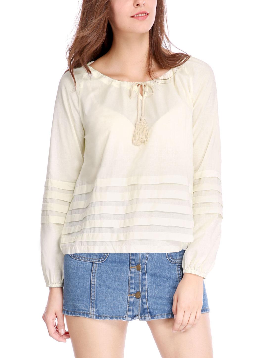 Women Tassel Tie Front Shutter Pleats Long Sleeves Blouse Ivory L