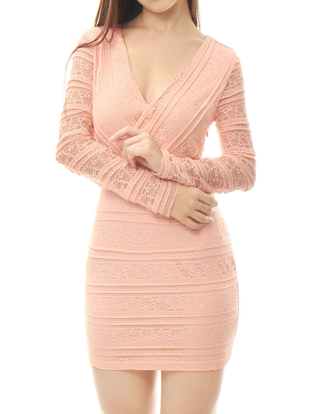 Women Lace Crossover V Neck Long Sleeves Bodycon Dress Pink M