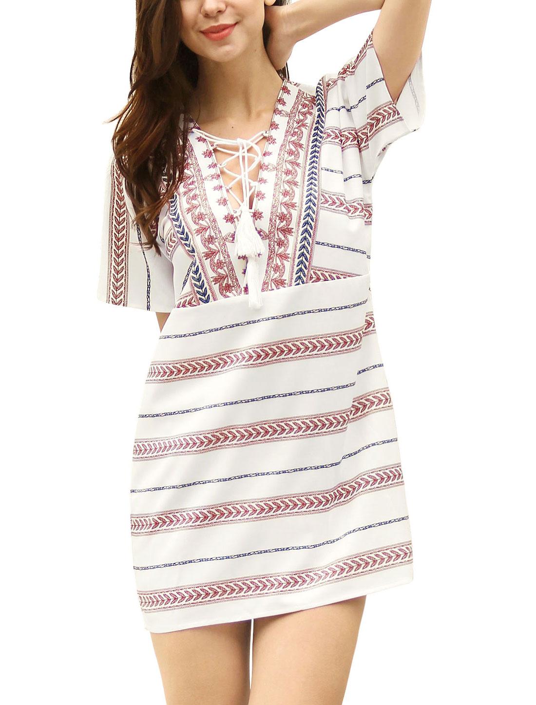 Women Leaves Stripes Pattern Fringe Lace Up Mini Dress White L