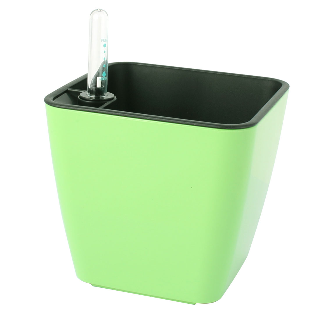 Plastic Automatic Self Watering Planter Apple Green w Water Level Indicator