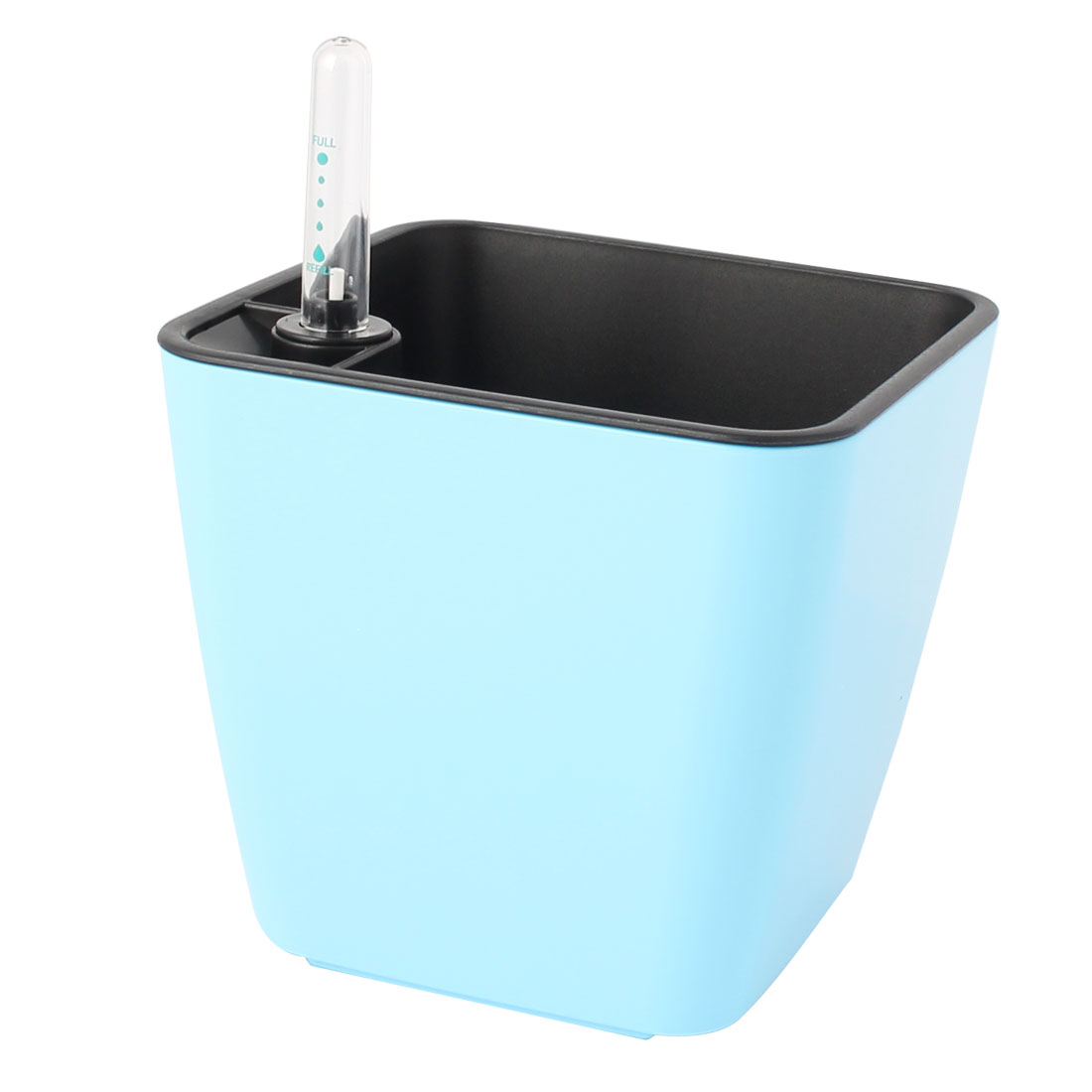 Office Home Plastic Self Watering Planter Pot Light Blue w Water Level Indicator
