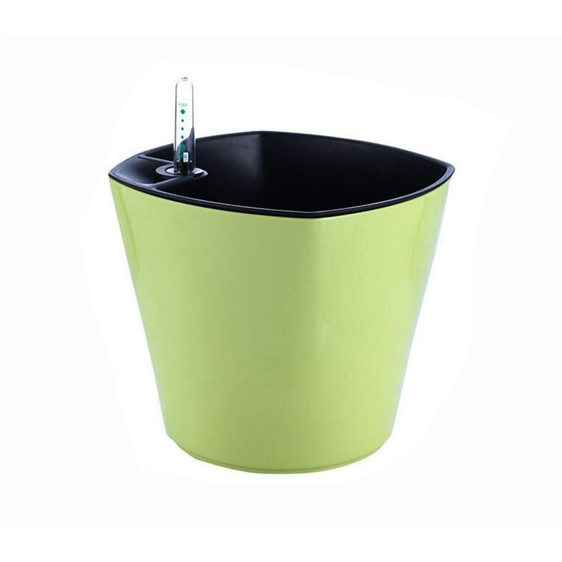 Home Plastic Self Watering Planter Flowerpot Light Green w Water Level Indicator