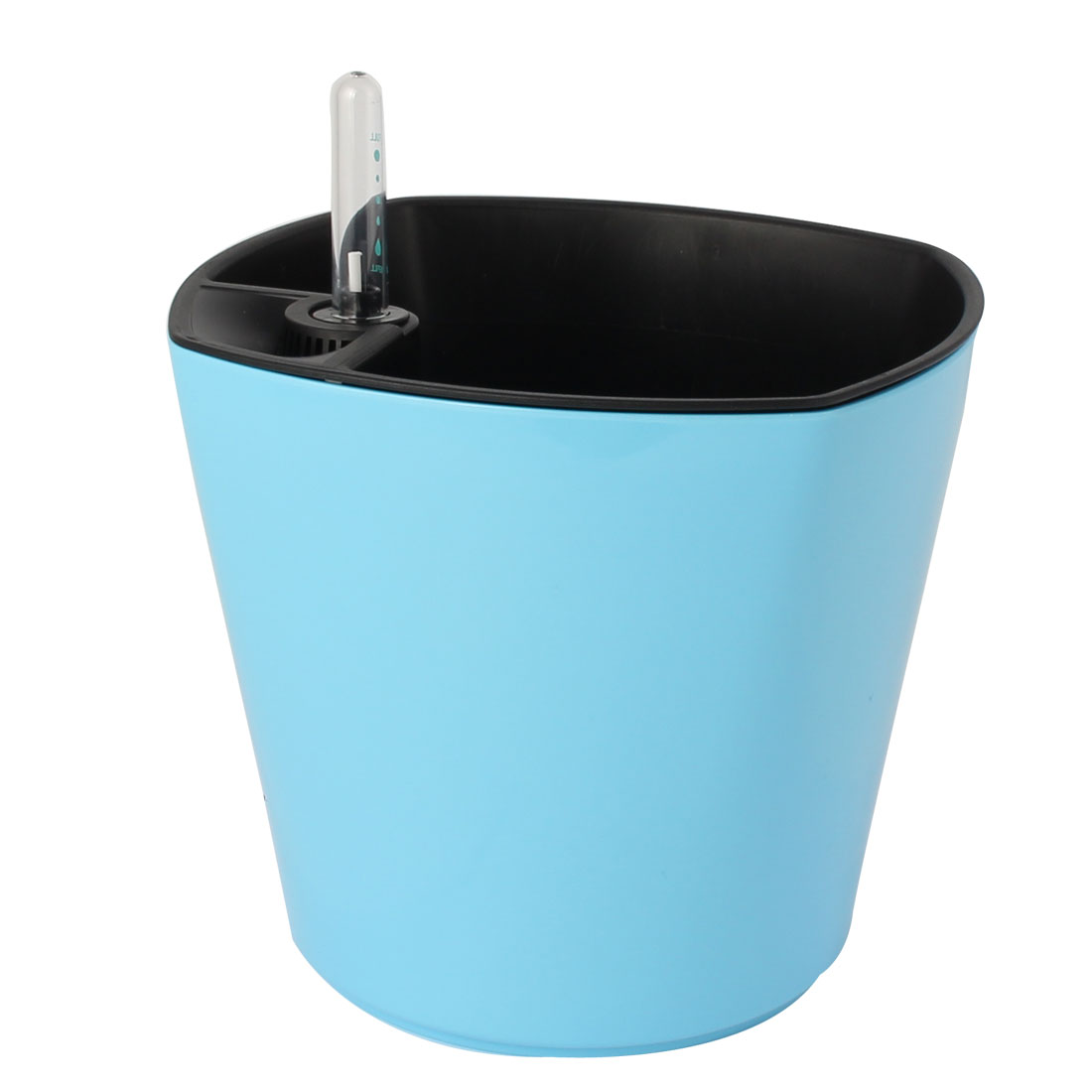 Plant Plastic Self Watering Planter Flowerpot Light Blue w Water Level Indicator